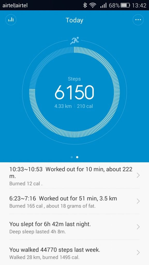 Xiaomi Mi Band_today view activity