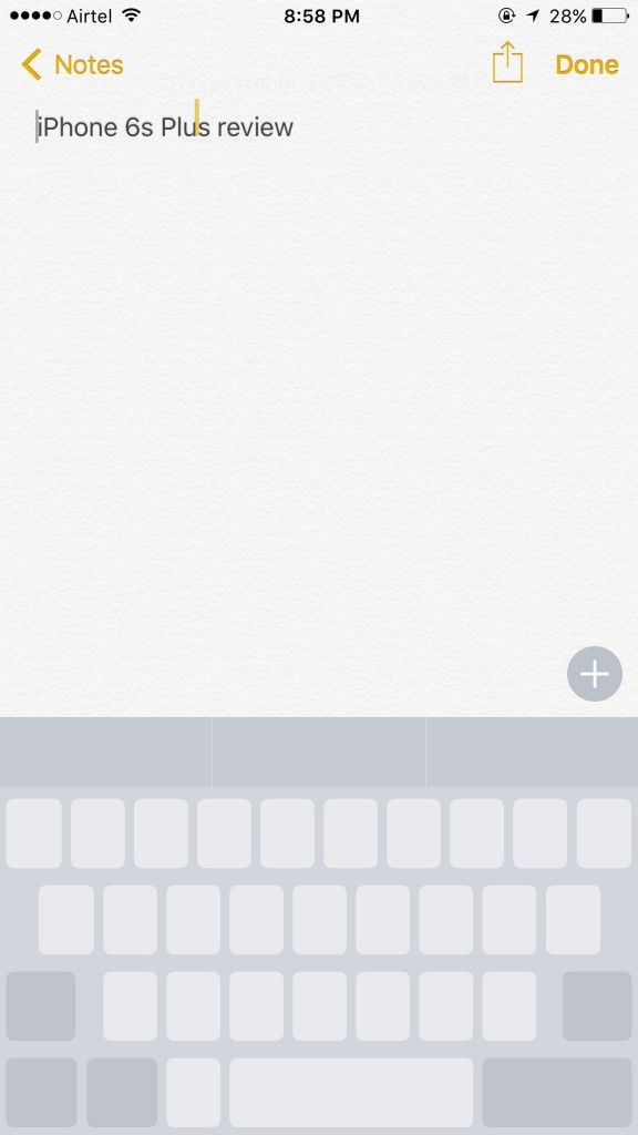 iPhone 6s Plus_3D Touch keyboard