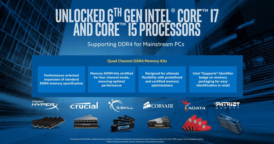 Intel Skylake DDR4 RAM support