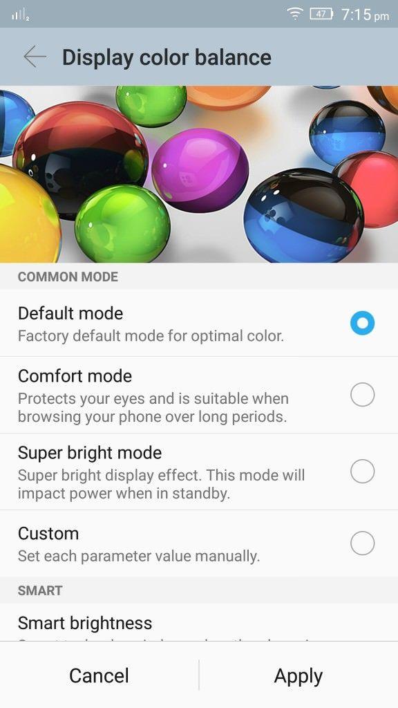 Lenovo Vibe S1_Display colour balance