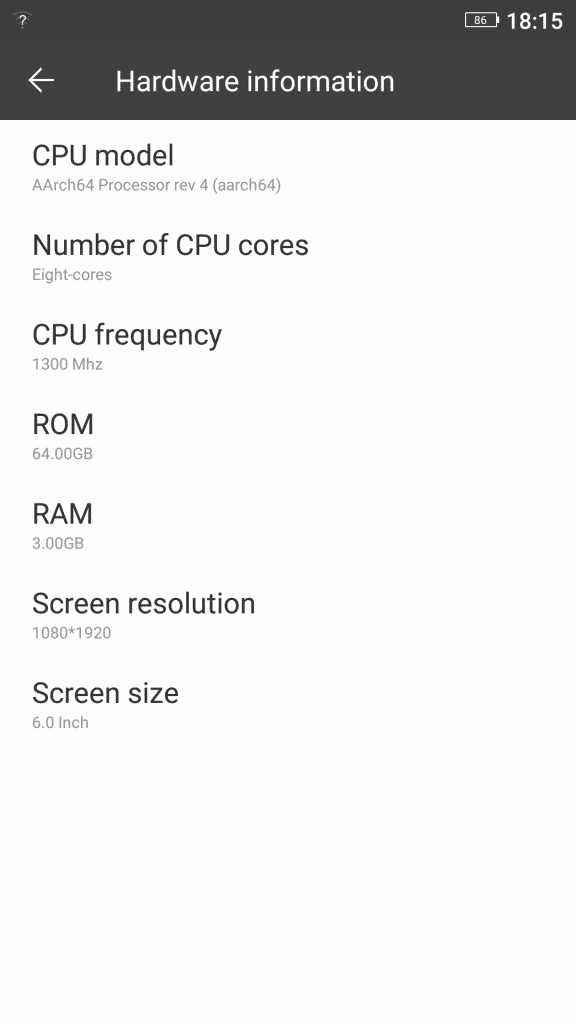 Gionee Marathon M5 Plus_hardware info