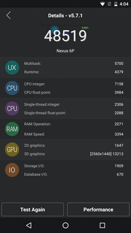 Nexus 6P - AnTuTu Benchmark on Android 6.0 Marshmallow