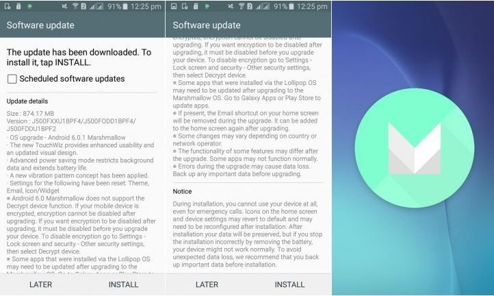 Samsung Galaxy J5 2015 getting the Android Marshmallow
