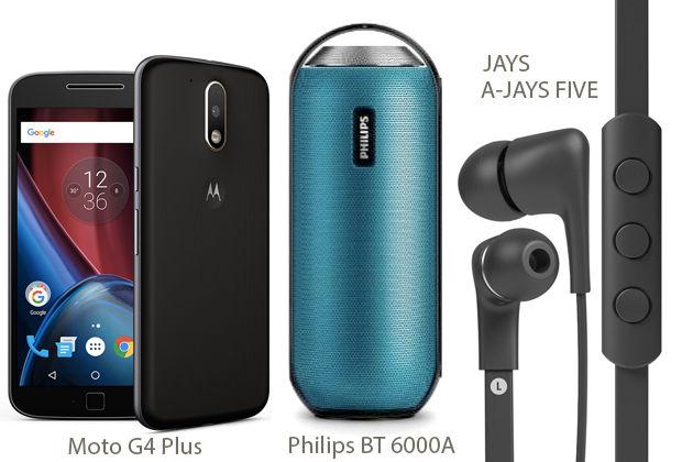 Combo: Moto G4 Plus, Philips BT 6000A, JAYS A-JAYS FIVE