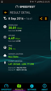 Samsung Galaxy S7 Airtel 4G speed test