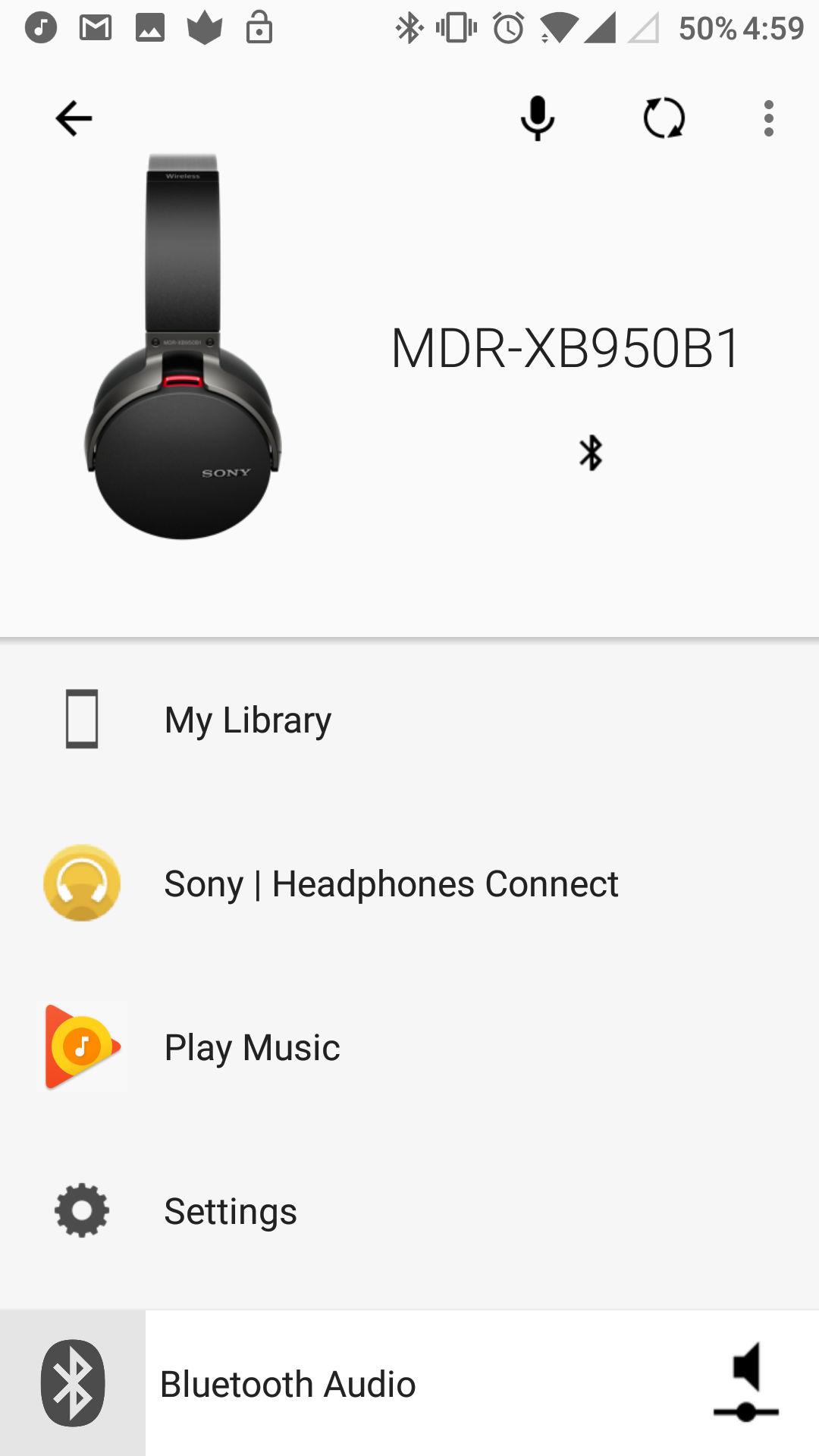 Sony MDR-XB950B1 app UI 1