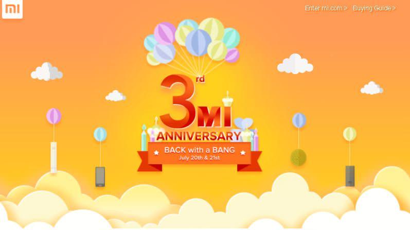 Xiaomi Mi 3rd anniversary sale
