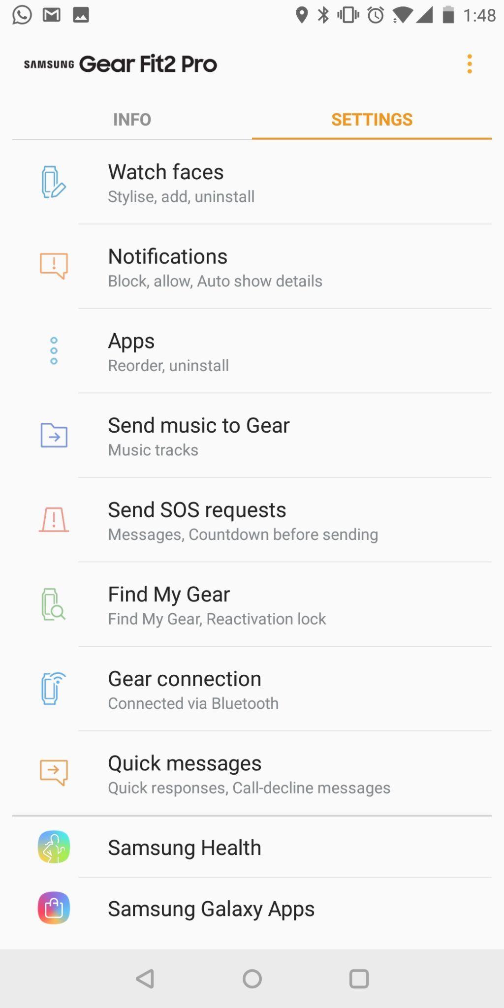 Samsung Gear Fit2 Pro app UI 2