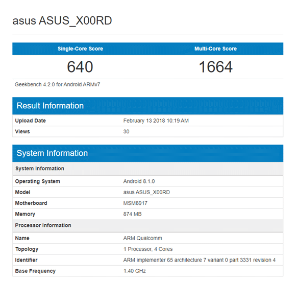 ASUS X00RD Geekbench
