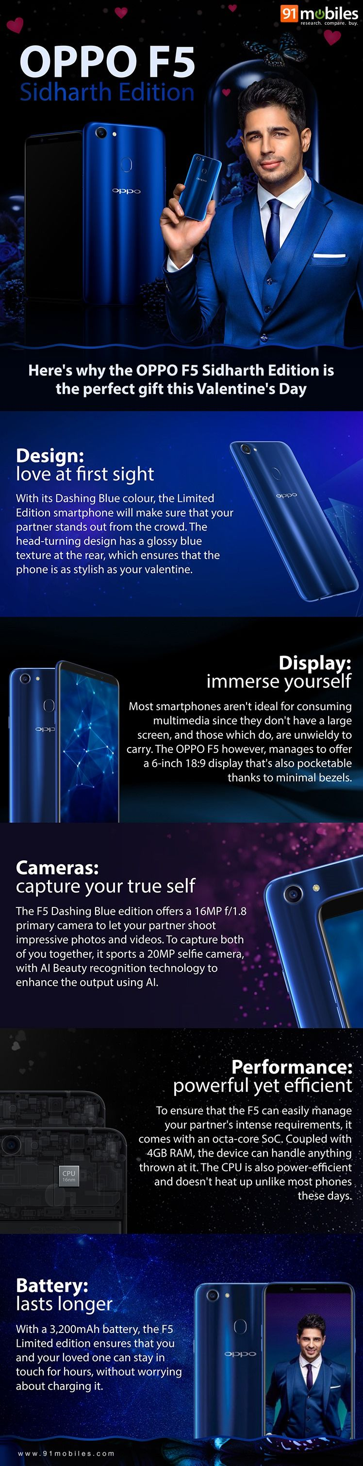 OPPO F5 Siddhart Edition infographic 91mobiles