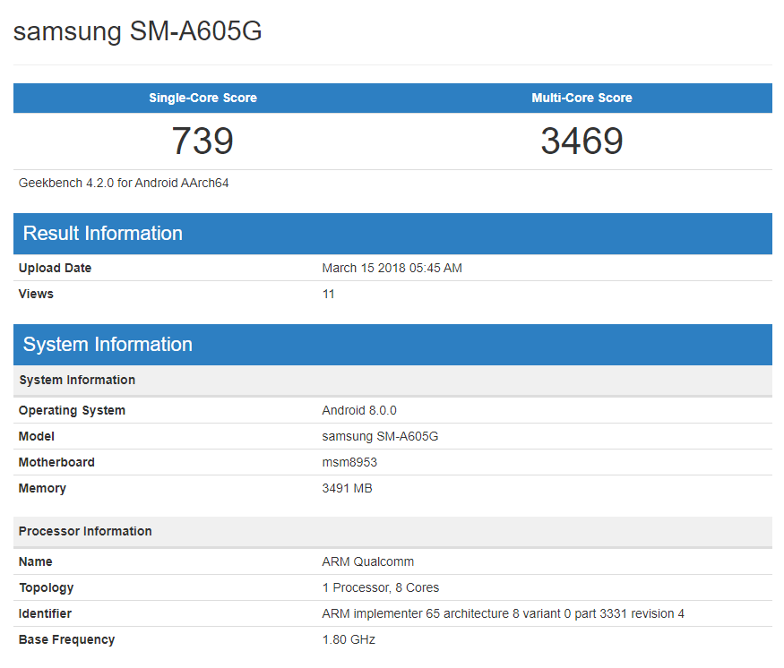 Samsung Galaxy A6 and A6+ allegedly spotted on Geekbench | 91mobiles com