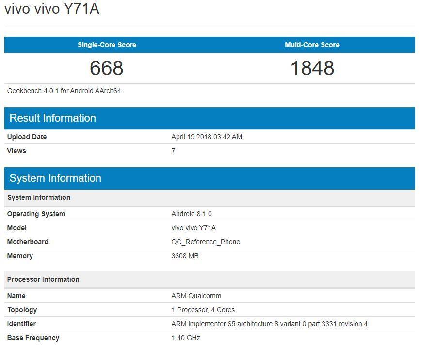 Vivo Y71 4GB RAM variant spotted on Geekbench | 91mobiles com