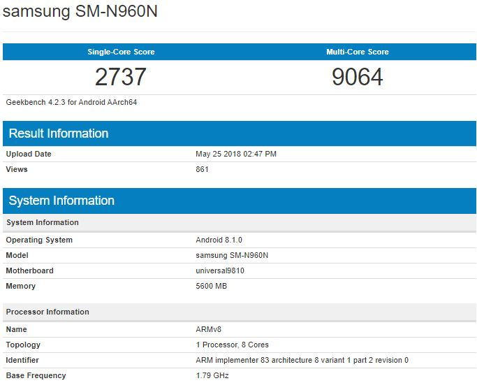 Samsung Galaxy S9 Geekbench leak
