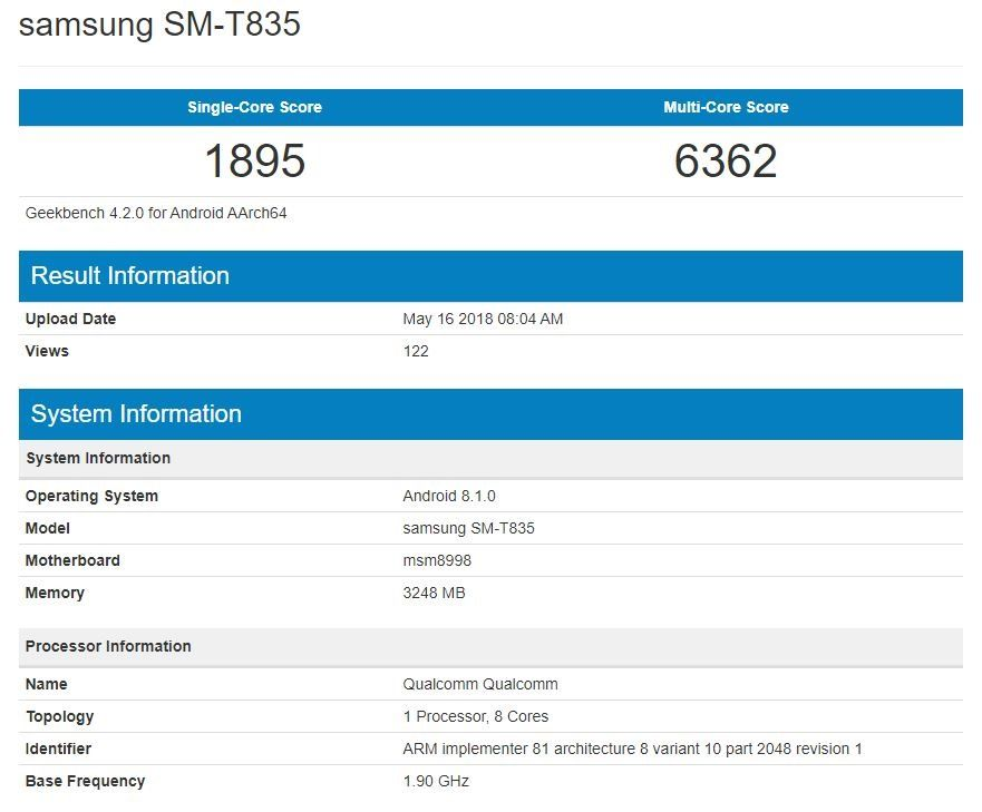 Samsung Galaxy Tab S4 with Snapdragon 835 and Android 8 1