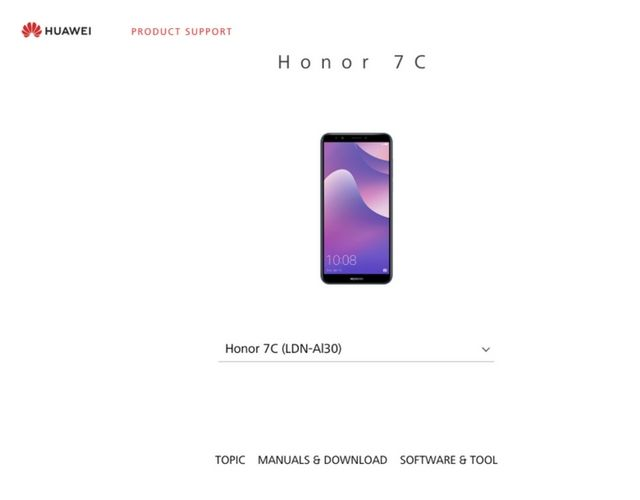 Honor 7C product manual spotted on company's official site, India
