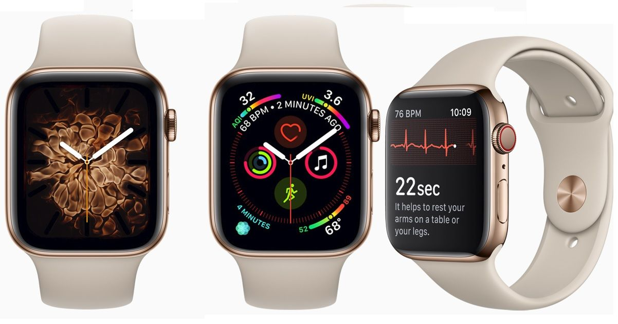 e59838994 Apple Watch Series 4 with larger edge-to-edge display and built-in ...
