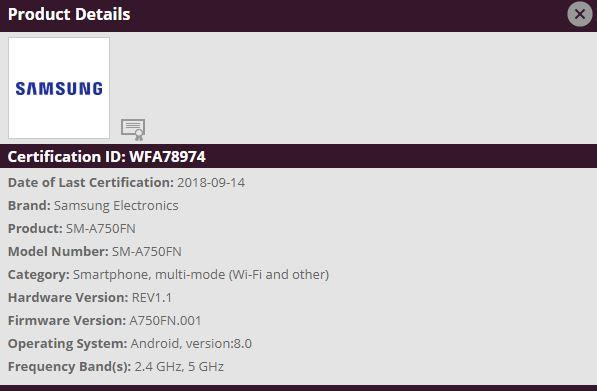 Samsung Galaxy A7 2018 Wi-Fi