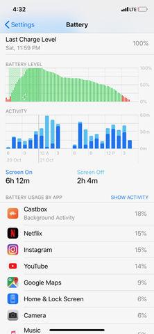Apple iPhone XR battery screenshot