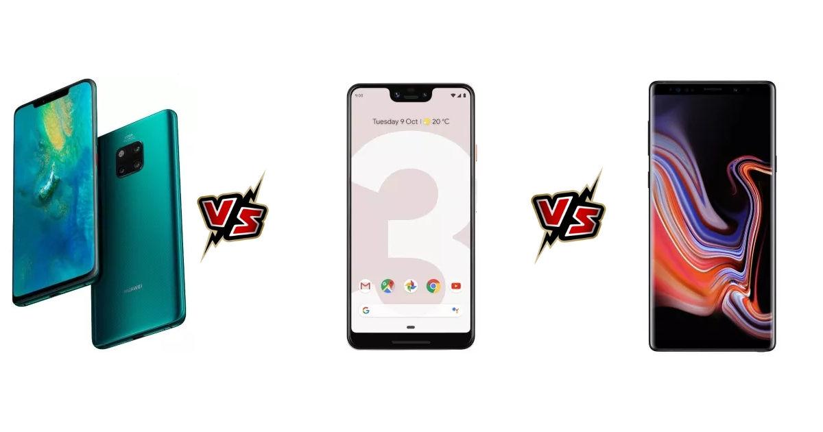 Huawei Mate 20 Pro vs Google Pixel 3 Xl vs Samsung Galaxy Note9 - featured