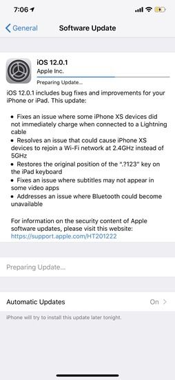 iOS 12.1 Changelog