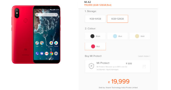 Mi A2 6GB RAM, 128GB variant listed in India: price
