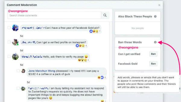 Facebook ban comment feature