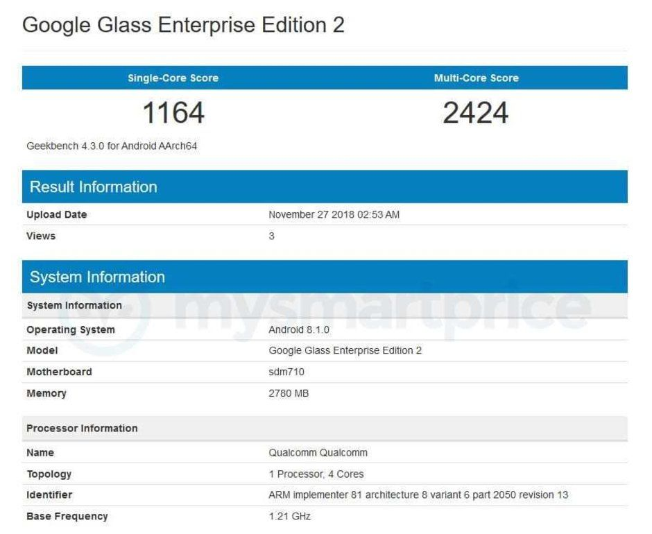 Google Glass Enterprise Edition 2 Geekbench