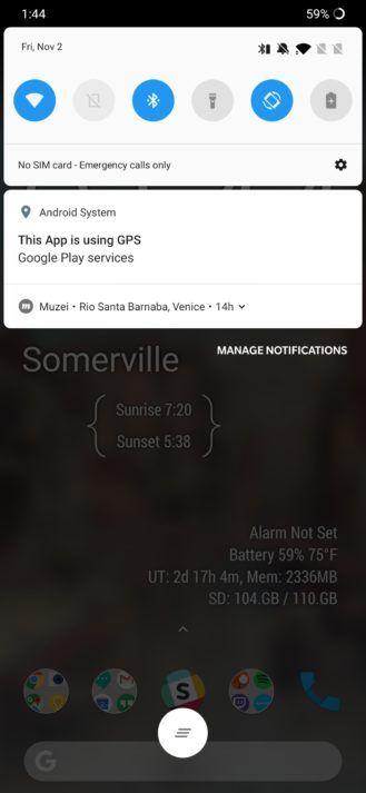 Google Location Notification Bug Screenshot