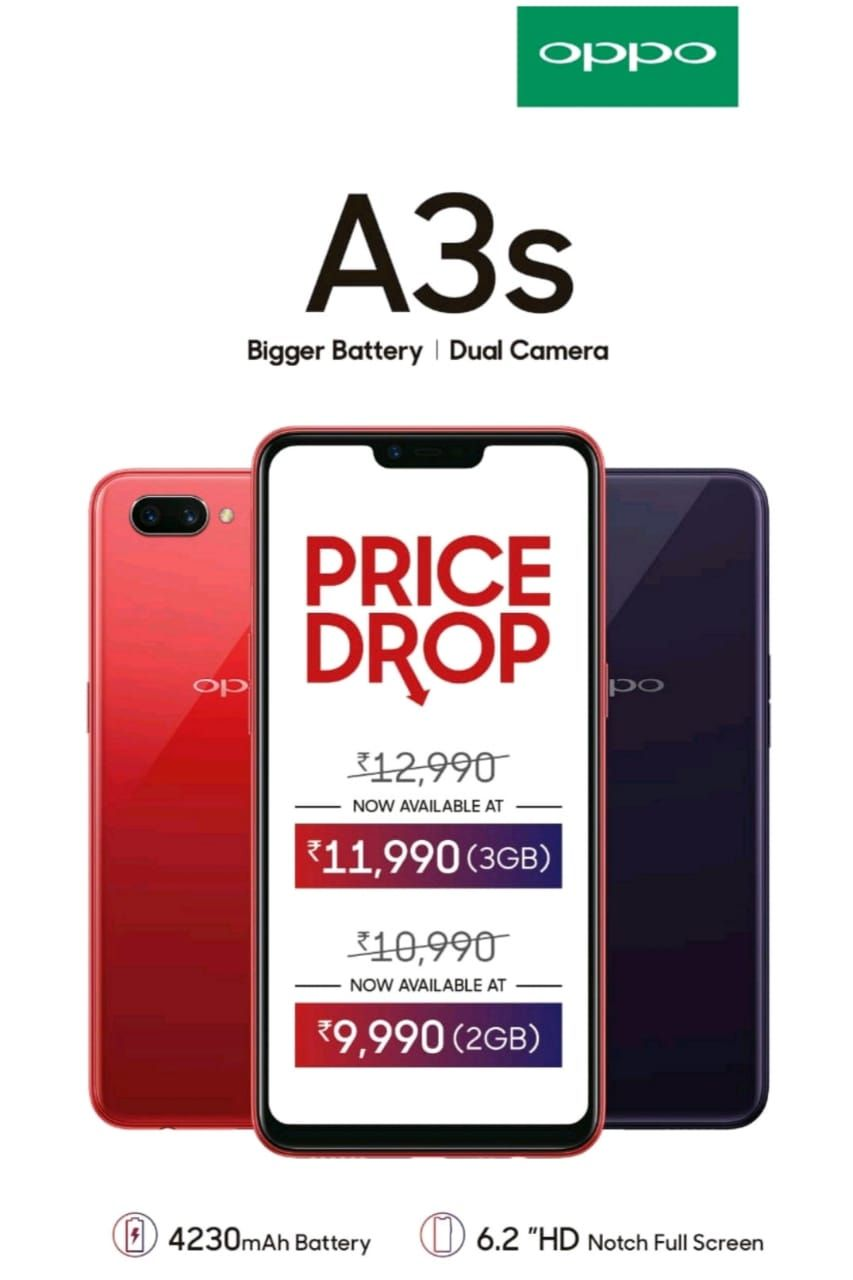 OPPO A3s price in India slashed to Rs 11,990 for 3GB variant