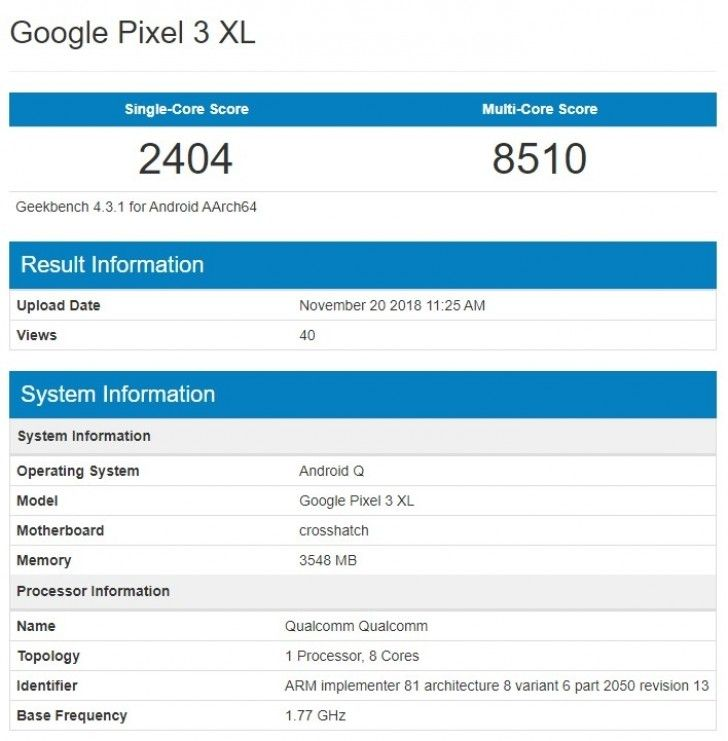 pixel 3 XL android q geekbench