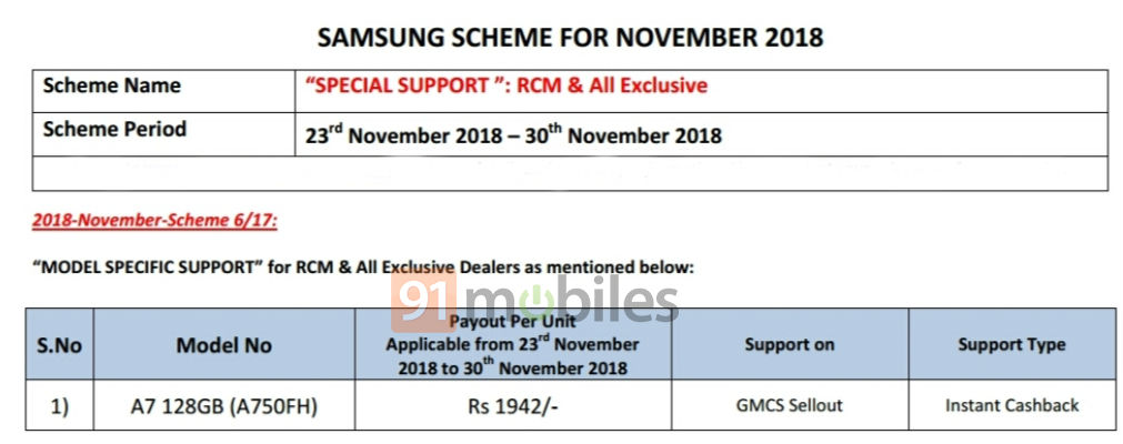 samsung galaxy a7 2018 discount offer