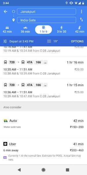 Google Maps Auto Rickshaw - in text