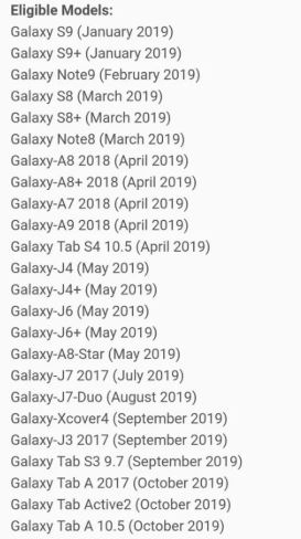 List of Samsung devices getting Android Pie update