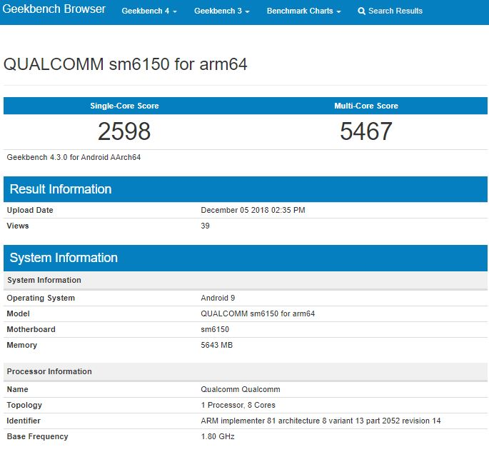 "Qualcomm's upcoming SM6150 processor appears on Geekbench ""A"