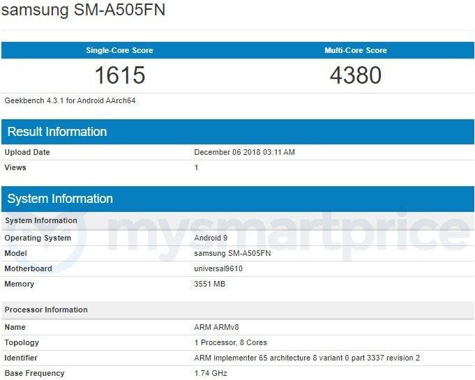 Samsung Galaxy A50 Geekbench