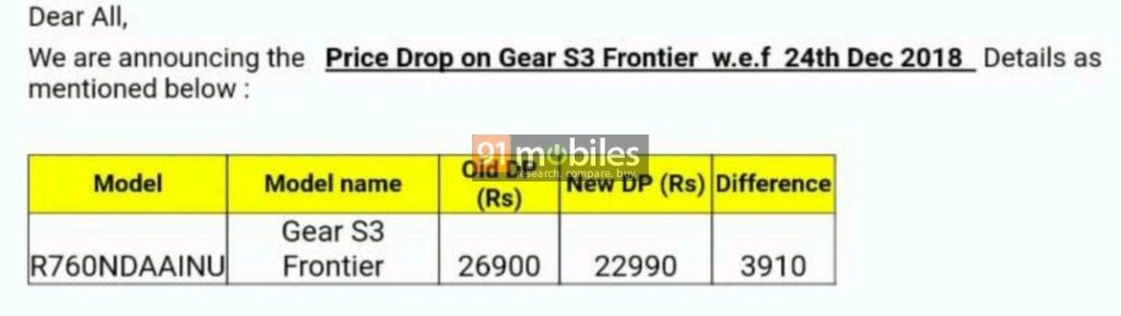 Samsung Gear S3 Frontier price drop India