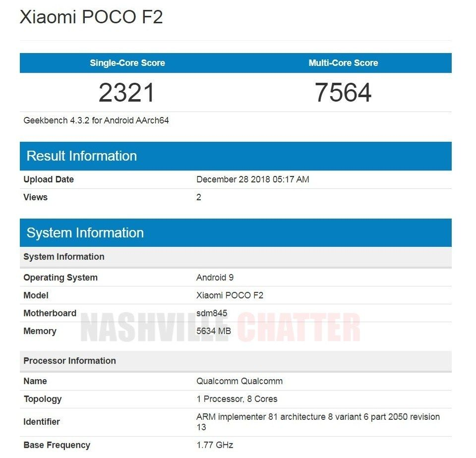 Xiaomi Poco F2 with Snapdragon 845 spotted on Geekbench, launch soon?