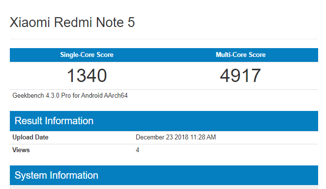 redmi note 5 Android 9 pie geekbench