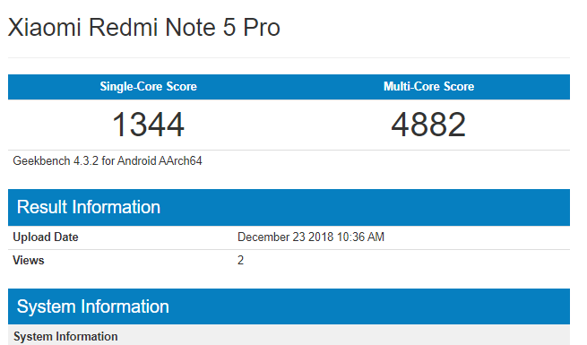 redmi note 5 pro Android 9 pie geekbench