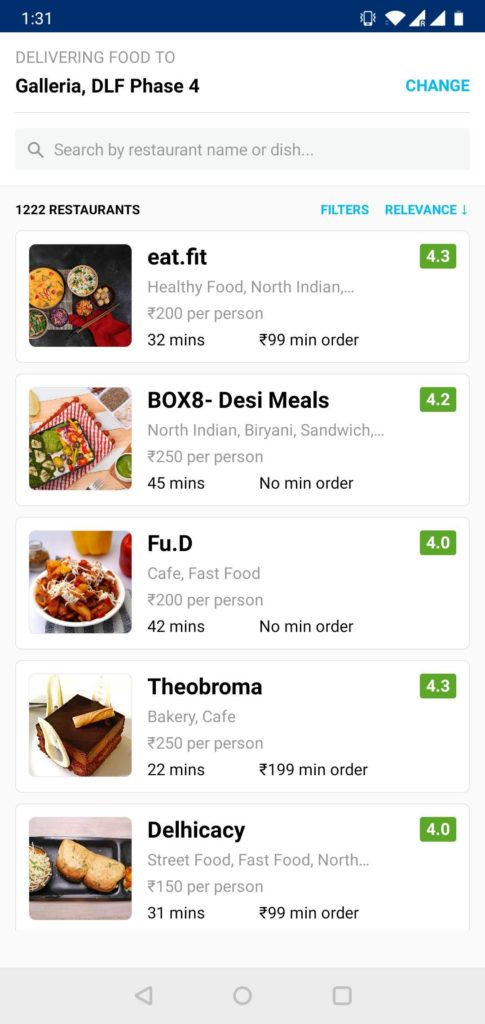Paytm food delivery - in text