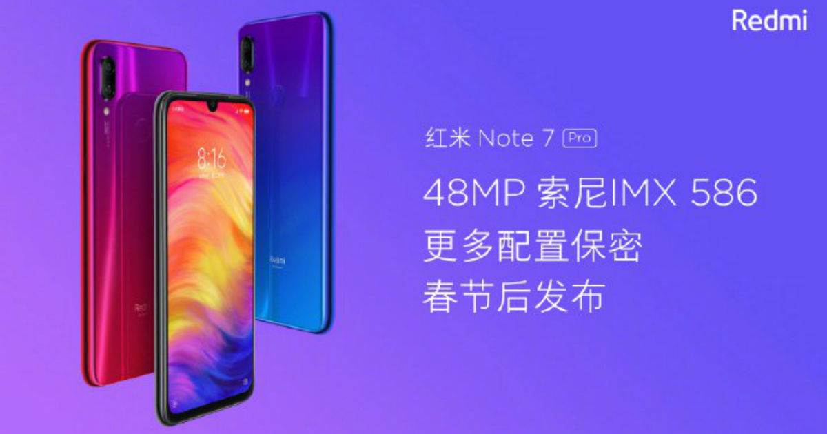 Redmi Note 7 Pro with 48-megapixel Sony IMX586 sensor said