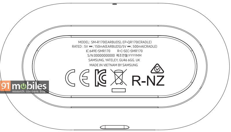 Samsung Galaxy Buds FCC label