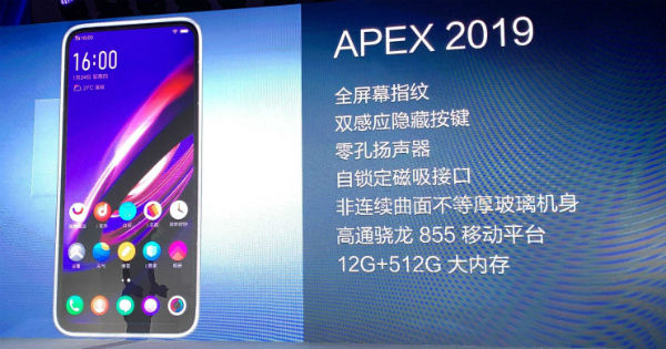 ad2696ffc Vivo APEX 2019 with no buttons