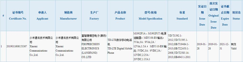 Xiaomi phone with support for 27W fast-charging certified, could be