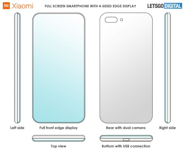 Xiaomi four-sided edge smartphone patent