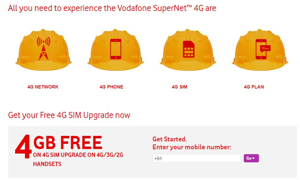 Vodafone offering free 4GB data to subscribers upgrading to 4G SIMs