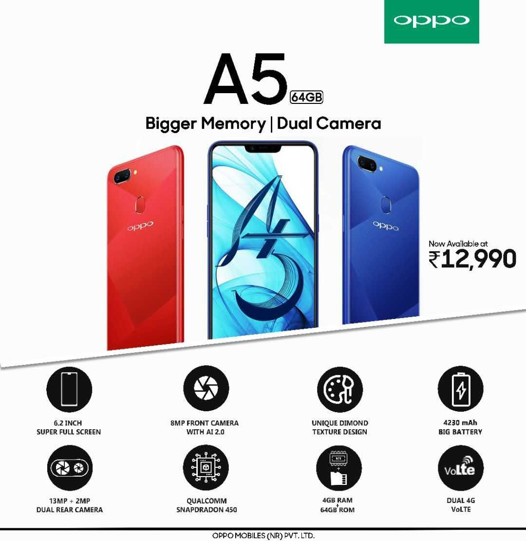 cbdfb0f2c OPPO A5 new variant with 64GB storage launched in India  price ...