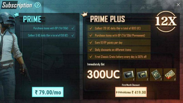 PUBG Mobile introduces Prime and Prime Plus Subscriptions