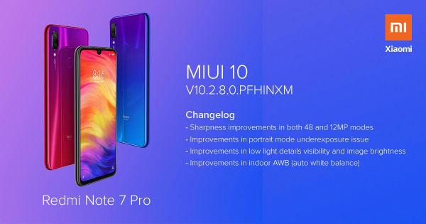 Redmi Note 7 Pro MIUI 10 2 8 0 update brings camera