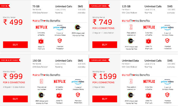 Airtel revises postpaid plans to offer more data, phases out Rs 399